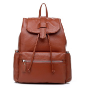 ONEWORLD New Fashion Genuine Cowskin Full Grain Leather Solid Colour Drawstring Bag Women Backpack Satchel Brown