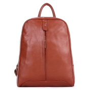 ONEWORLD New Genuine Cowskin Full Grain Leather Simple Fashion Handbag Women Backpack Satchel Brown