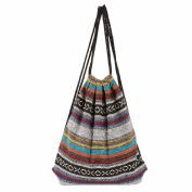 HITOP Harajuku fashion backpack canvas shoulder bag leisure drawstring geometric patte people travel Drawstring Bag