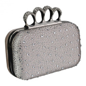 Womens Knuckle Ring Handle Clutch Bag in a Gift Box - Prom Wedding Bridal Ladies Evening
