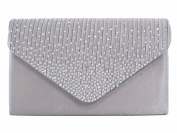 New GREY Diamante Satin Envelope Clutch Evening Bag Handbag & Shoulder Chain