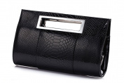 Hoxis Classic Crocodile Pattern Faux Patent Leather Cut it out Clutch with Shoulder Strap Womens Handbag