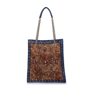 Oath_song Women's Crocodile Leather Chain Skull Studded Tall Square Tote Bag