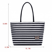 Millya Women Ladies Summer Beach Handbags Stripe Tote Canvas Shoulder Zipper Bag