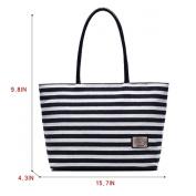 Millya Women Ladies Summer Beach Handbags Stripe Tote Canvas Shoulder Zipper Bag