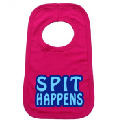 SPIT HAPPENS PULLOVER BABY BIBS - Doubled Layered - (Hot Pink) - 100% Cotton Baby Newborn Toddler Perfect Gear Clothing Boy Girl Mum Dad Mummy Daddy Grow Gift Custom Present Birthday Christening play toy Cute - Machine Washable- by Fonfella