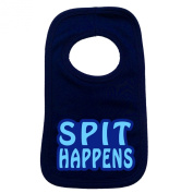 SPIT HAPPENS PULLOVER BABY BIBS - Doubled Layered - (Navy Blue) - 100% Cotton Baby Newborn Toddler Perfect Gear Clothing Boy Girl Mum Dad Mummy Daddy Grow Gift Custom Present Birthday Christening play toy Cute - Machine Washable- by Fonfella