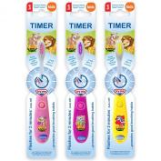B-Brite Wild Bunch Flashing Timer Manual Toothbrush for Girls - Pack of 3