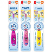 B-Brite Club Cutie Flashing Timer Manual Toothbrush for Girls - Pack of 3