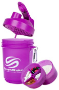 SmartShake Shaker 400ml with two screw-in compartments Neon Series Purple