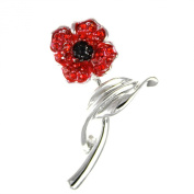 Angelys Poppy Jewellery - Four Petal Brooch On Stem - New Design - Gift Boxed