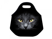 Black Cat Kids Insulated Soft Lunch box Neoprene Food Bag lunchbox Cooler warm Pouch Tote Handbag for school work office