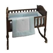 bkb Ric Rac Cradle Bedding, Light Blue, 46cm X 90cm