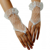 BlueTop(TM) Women Elegant Voile Fingerless Wrist Length Short Bridal Bride Gloves for Wedding Prom Party Ball Dance