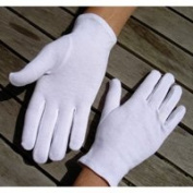 Adult's Stitched 100% Soft White Cotton Gloves Medium x5 Pairs
