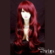 NEW Sexy Beautiful Layered wavy Red mix Long Ladies Wigs Burgundy Skin Top Wig UK