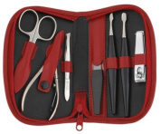 Precision Quality German 7 Piece Red Leather Manicure Set