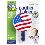 Baby Buddy Smiley Pacifier Holder, Adorable, American Flag Clips onto Baby's Shirt, Snap Other End Around Pacifier, Rattle, Toy-For Babies 4 Months and Up-Pacifier Clip for Both Boys & Girls