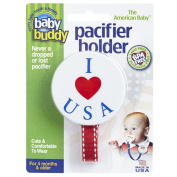 Baby Buddy Smiley Pacifier Holder, Adorable, I Love USA Clips onto Baby's Shirt, Snap Other End Around Pacifier, Rattle, Toy-For Babies 4 Months and Up-Pacifier Clip for Both Boys & Girls