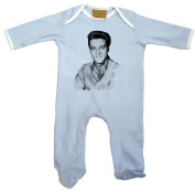 Elvis Black and White Baby Grow (3-6) Blue