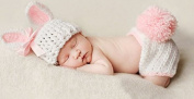 Pink Rabbit, Newborn Baby Girl/Boy Crochet Knit Costume Photo Photography Prop Hats Outfits