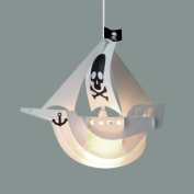 Cool Children's White Pirate Ship Bedroom Ceiling Pendant Light Shade