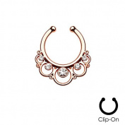 Rose Gold Plated Crystal Lace Circles - Non-Piercing Fake Septum Clip - Pierced & Modified Body Jewellery