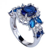 Yazilind 6*10mm Oval Cut Sapphire Blue Created Sapphire Silver Plated Size O Ring