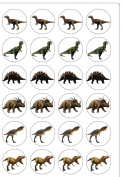 24 PRE CUT Dinosaur Edible Wafer Paper Round Cake Toppers Decorations