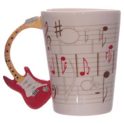 Red Stratocaster Guitar Mug, With Shaped Handle and Sheet Music Design