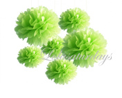 LolaSaturdays Paper Pom Poms 3 Sizes 6 Pack Green
