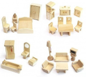Freda - Wooden Dolls House Furniture Set - 28 Pieces - suitable for Freda Doll House