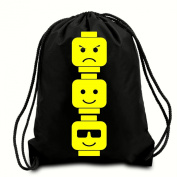 Lego Heads Corded/Drawstring Shoulder Bag- Water Resistant