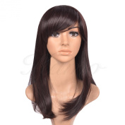 Kamo® Dark Brown Side-swept Bangs Shoulder-length Women & Girls Cosplay Party Wig