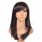 Kamo® Dark Brown Side-swept Bangs Shoulder-length Women & Girls Cosplay Party Wig