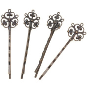Antiqued Brass Colour Ornate Filigree Bobby Pin 2 1/2 Inches (63.5mm)