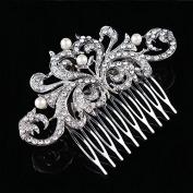 NIPOO Bridal Flower Pearl Crystal Hair Side Combs
