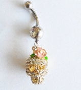 3D Sugar Skull Dangle Belly Ring Bar CZ Gold Sugar Skull Belly Ring 14G