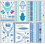 New Release, Dalin 6 Sheets Blue Silver Green Body Temporary Metallic Tattoos Jewellery Inspired Bling Adult Temp Metallic Glitter Art Tattoos Long Lasting, Trendy Tattoo Designs - Elephant, Flower, Earring, Rose, Hand Print, Heart, Angel Wing, Feather ..