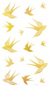 "Latest hot selling and fashionable tattoo sticker product dimension 17cm ""x 3.190cm flying swallow Golden gold realistic temporary tattoo stickers"
