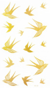 """Latest hot selling and fashionable tattoo sticker product dimension 17cm """"x 3.190cm flying swallow Golden gold realistic temporary tattoo stickers"""
