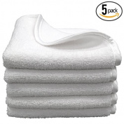 (5-Pack) Premium 20cm x 20cm Antibacterial Microfiber Ultra Soft Facial Towel / Wash Cloths with Silky Satin Border - THE RAG COMPANY