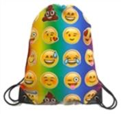 Sling Bag PE Sports Backpack Emoji Emoticon Canvas School Work Travel Lightweight Green