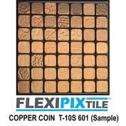 FLEXIPIXTILE, Sample, Aluminium Mosaic Tile, Peel & Stick, Kitchen Backsplash, Accent Wall, COPPER COIN