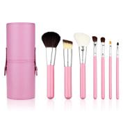 Unimeix. 7 pcs Premium Kabuki Makeup Brush Set Face Powder Foundation Eye Cosmetic Brush Kit with Roller Case