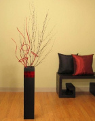 Shopping The Globe 70cm Tall MDF Floor Vase - Black & Red Accent