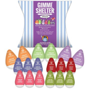Best Travel Size Toiletry Gift Set-Gimme Shelter Kit w/ 18 Single-use LEAK PROOF pods. Includes 9 Premium Natural Vegan Toiletries-See full list below. TSA Carry-On Size. Pack light. Made in USA.