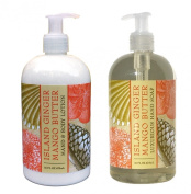 Island Ginger Mango Butter Shea Butter Hand & Body Lotion and Island Ginger Mango Butter Shea Butter Hand Soap Duo Set 470ml each by Greenwich Bay Trading Co.