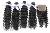 100 Brazilian Virgin Deep Curly Wave Hair Extentions 4 Bundles With 4*4 Free Part Closure Top Quality Grade 7A Unprocessed Brazilian Human Hair Weaves 5 Pcs Lot -20 22 24 26+18