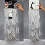 Fashion Design 60cm Long Curly Wavy 8 Pieces(18 Clips) Full Head Clip in Hair Extensions Silver Grey